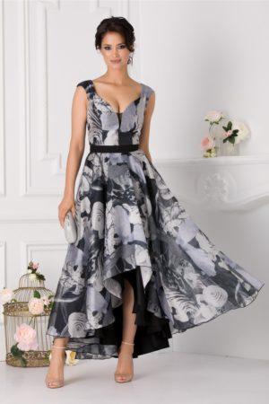 Rochie eleganta asimetrica realizata din organza neagra cu imprimeu gri si decolteu in forma de inima Adelia