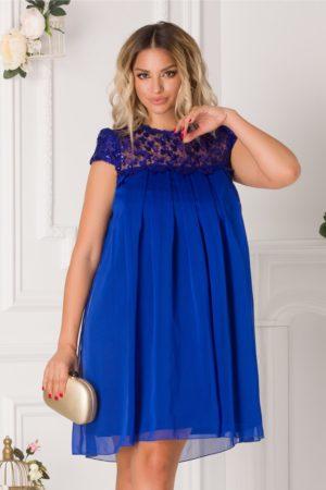 Rochie de seara albastra scurta eleganta accesorizata cu pliuri si broderie cu paiete Aida