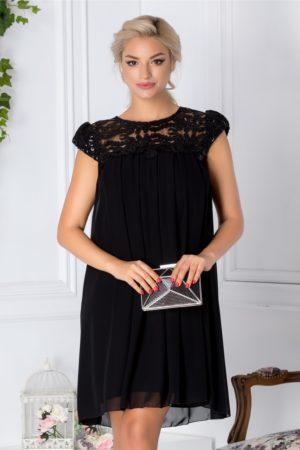 Rochie de seara neagra scurta eleganta accesorizata cu pliuri si broderie cu paiete Aida