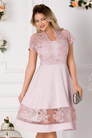 Rochie de seara roz prafuit cu dantela eleganta in zona bustului si guler tip tunica Amber