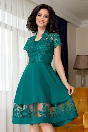 Rochie de seara verde cu dantela eleganta in zona bustului si guler tip tunica Amber