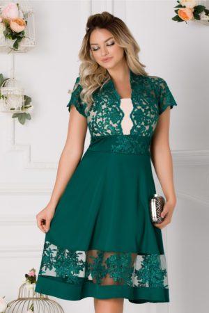 Rochie de seara verde intens cu dantela eleganta in zona bustului si guler tip tunica Amber