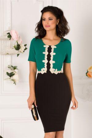 Rochie office verde si negru midi eleganta cu broderie la bust Amira