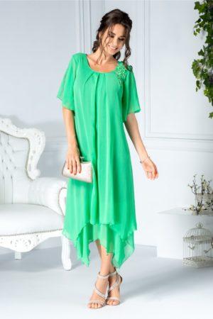 Rochie de lux cu maneci decupate Anina midi verde din voal cu broderie si perle