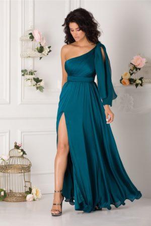 Rochie de seara lunga albastru petrol eleganta in stil grecesc Artemis