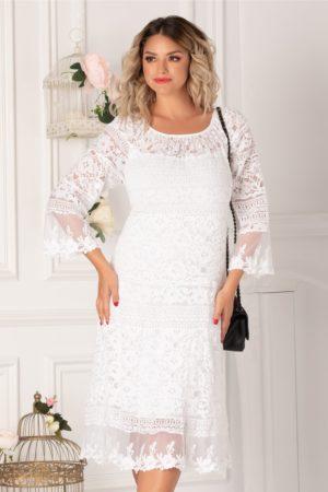 Rochie one size alba pentru tinute de vara din dantela cu insertii transparente Bianca