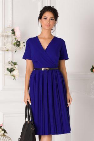 Rochie de ocazie albastra cu fusta midi plisata si curea subtire in talie Carolina