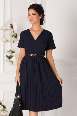 Rochie de ocazie bleumarin cu fusta midi plisata si curea subtire in talie Carolina