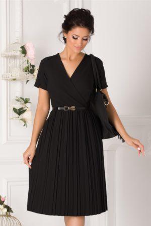 Rochie de ocazie neagra cu fusta midi plisata si curea subtire in talie Carolina