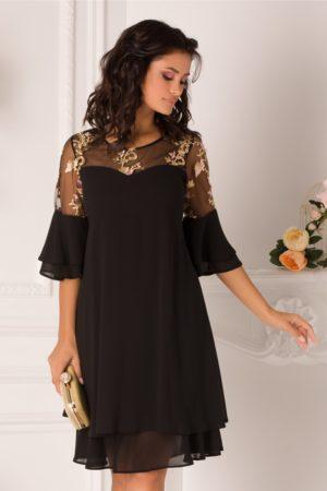 Rochie de nunta plus size neagra midi eleganta cu broderie bej la umeri Chrisa