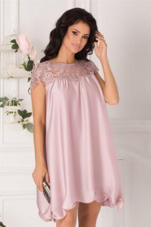 Rochie de seara roz prafuit cu croiala larga din voal satinat cu dantela brodata Claudia