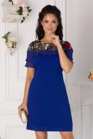 Rochie de ocazie albastra scurta eleganta cu broderie si volanase plisate Dana
