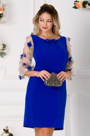 Rochie de ocazie albastra cu croi lejer si maneci din organza accesorizate cu flori 3D Denissa