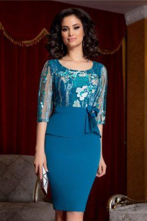 Rochie de ocazie albastru petrol cu broderie si fir lurex Denisse pentru femei plinute