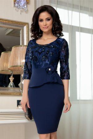 Rochie de ocazie bleumarin cu broderie si fir lurex Denisse pentru femei plinute