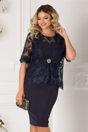 Rochie midi bleumarin plus size eleganta cu bolero din dantela pentru ocazii speciale Deny