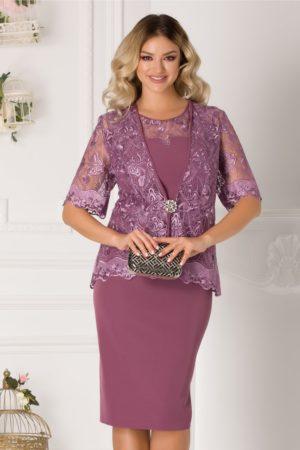Rochie midi lila plus size eleganta cu bolero din dantela pentru ocazii speciale Deny