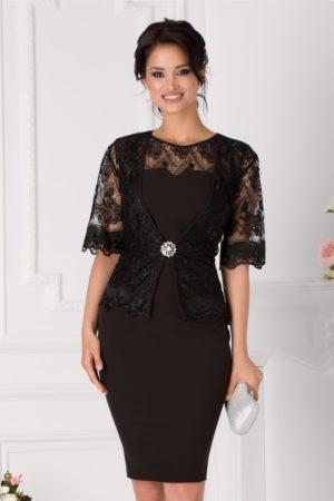 Rochie midi neagra plus size eleganta cu bolero din dantela pentru ocazii speciale Deny