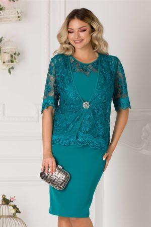 Rochie midi turcoaz plus size eleganta cu bolero din dantela pentru ocazii speciale Deny