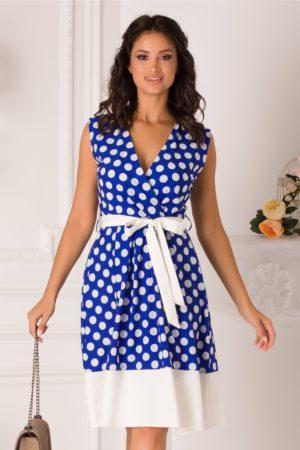 Rochie de zi office albastra cu buline albe prevazuta cu un cordon in talie Dots