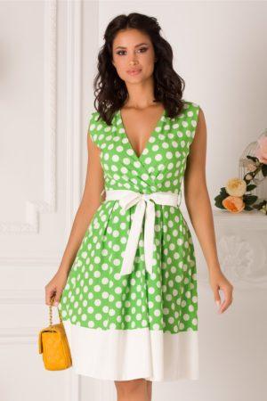Rochie de zi office vernil cu buline albe prevazuta cu un cordon in talie Dots