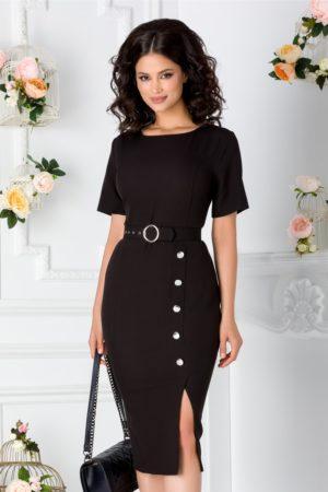 Rochie conica de culoare neagra cu nasturi decorativi si curea detasabila in talie Elena