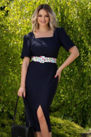Rochie de ocazie bleumarin eleganta cu curea in talie si fusta petrecuta Emilia