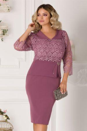 Rochie de ocazie lila midi cu dantela la bust si peplum in talie Ermin plus size