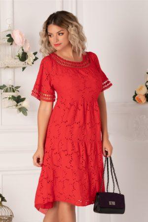 Rochie de vara rosie one size realizata din bumbac de broderie florala cu perforatii Fabia