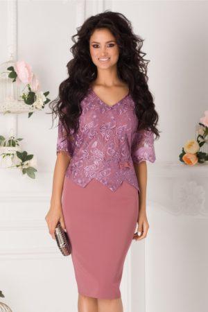 Rochie plus size roz coniac de nunta cu dantela si peplum discret in talie Fevronia
