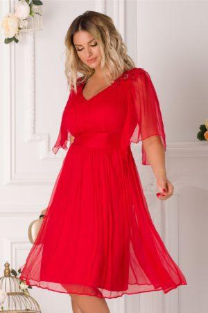 Rochie de lux din matase naturala rosie cu maneci evazate si  broderie cu perlute la umeri Ginette