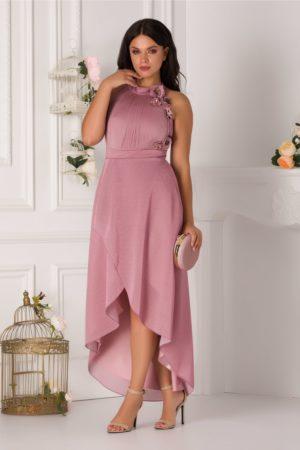Rochie de seara eleganta roz prafuit cu trena si aplicatie de matase naturala Ginette