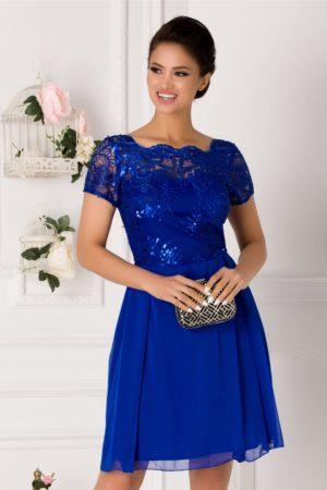 Rochie de ocazie albastra cu broderie florala si paiete stralucitoare la bust Gloria