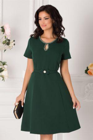 Rochie de ocazie verde inchis eleganta cu decupaj discret la decolteul rotunjit Ivette