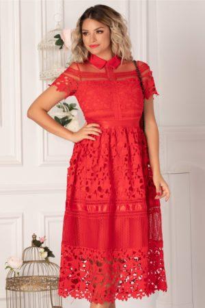 Rochie de ocazie pana sub genunchi din dantela rosie cu insertii din tull si satin diafan Izabela