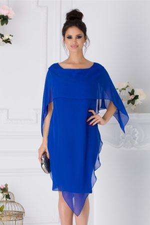 Rochie de ocazie albastra midi cu volane petrecute Jeny pentru femei plinute