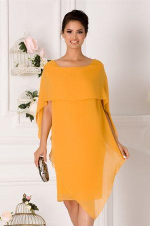 Rochie de ocazie galben mustar midi cu volane petrecute Jeny pentru femei plinute