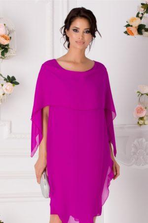 Rochie de ocazie violet midi cu volane petrecute Jeny pentru femei plinute