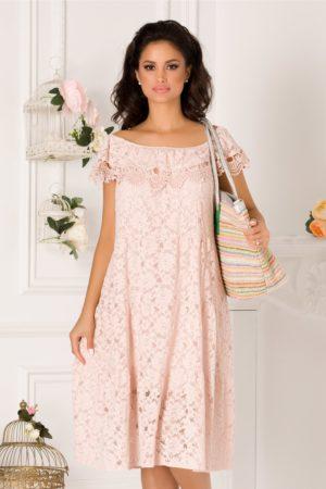Rochie de vara roz pudra din dantela cu volan maxi si croiala lejera Julia
