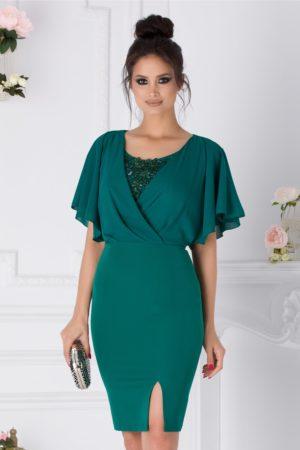 Rochie scurta verde de ocazie eleganta cu voal si broderie la bust Kamelia
