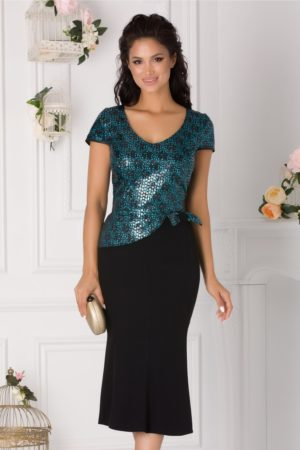 Rochie midi de seara neagra eleganta cu sclipici albastru la bust Kami pentru femei plinute