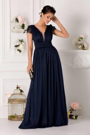 Rochie de seara bleumarin lunga pana in pamant cu maneci dantelate LaDonna