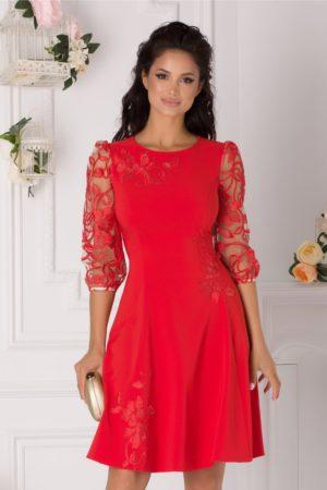 Rochie de nunta corai eleganta cu fusta midi in clos accesorizata cu flori brodate LaDonna
