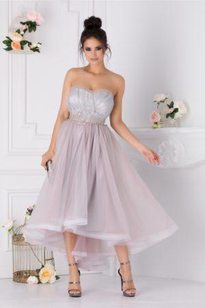 Rochie de lux gri asimetrica tip corset cu tull diafan si broderie florala cu margelute LaDonna
