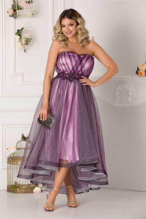 Rochie de lux mov asimetrica tip corset cu tull diafan si broderie florala cu margelute LaDonna