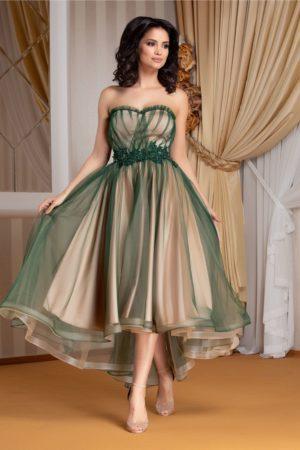 Rochie de lux verde asimetrica tip corset cu tull diafan si broderie florala cu margelute LaDonna