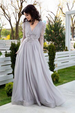 Rochie de seara gri lunga eleganta din lycra subtire cu flori 3D in talie si sclipici LaDonna