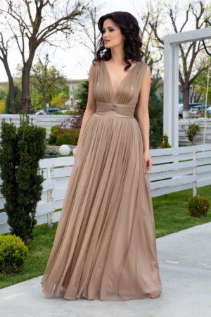 Rochie de seara lunga eleganta bej cu lurex auriu si decolteu adanc in V LaDonna