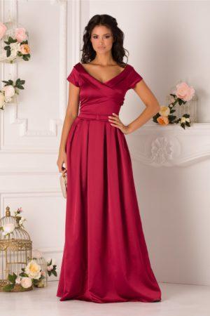 Rochie de nunta bordo lunga pana in pamant din tafta satinata cu decolteu in V si design petrecut LaDonna