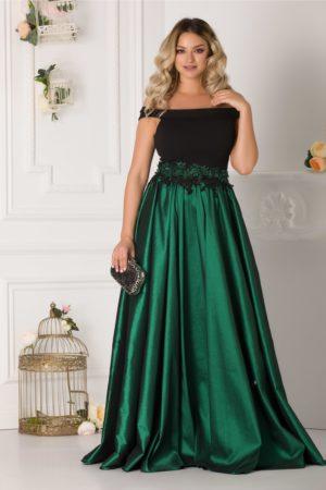 Rochie lunga de seara eleganta cu umerii goi si fusta verde cu broderie 3D in talie LaDonna
